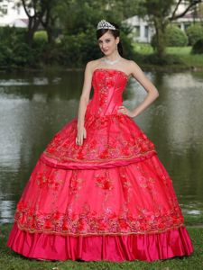 Beading Sweet 16 Dresses Strapless in Coral Red at Villa Nueva