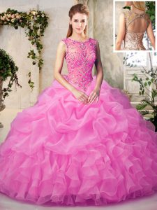Rose Pink Ball Gowns Scoop Sleeveless Organza Floor Length Lace Up Beading and Ruffles and Pick Ups Quince Ball Gowns