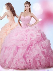Custom Made Sleeveless With Train Beading and Ruffles and Pick Ups Lace Up Ball Gown Prom Dress with Rose Pink Brush Train