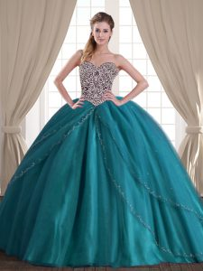 Noble Teal Sleeveless With Train Beading Lace Up Quince Ball Gowns