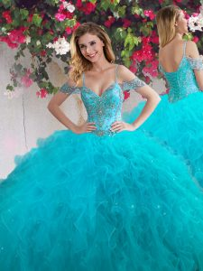 Custom Fit Off The Shoulder Sleeveless Tulle Sweet 16 Dresses Beading and Ruffles Lace Up