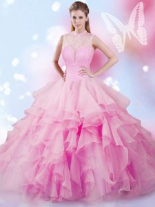 Captivating Sleeveless Tulle Floor Length Lace Up Vestidos de Quinceanera in Rose Pink with Beading and Ruffles