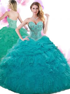 Pick Ups Teal Sleeveless Organza Lace Up Ball Gown Prom Dress for Military Ball and Sweet 16 and Quinceanera