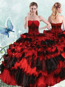 Red And Black Ball Gowns Organza Strapless Sleeveless Appliques and Ruffled Layers Floor Length Lace Up Sweet 16 Dresses