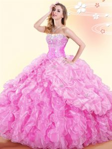 Pick Ups Floor Length Ball Gowns Sleeveless Rose Pink 15th Birthday Dress Lace Up