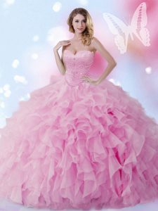 Rose Pink Ball Gowns Sweetheart Sleeveless Organza Floor Length Lace Up Beading and Ruffles Quinceanera Gown