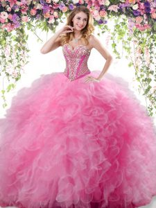 Sleeveless Floor Length Beading and Ruffles Lace Up Quinceanera Gowns with Rose Pink