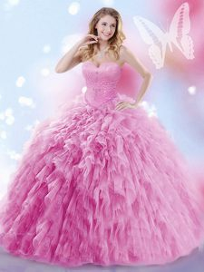 Rose Pink Ball Gowns Sweetheart Sleeveless Tulle Brush Train Lace Up Beading and Ruffles Quince Ball Gowns