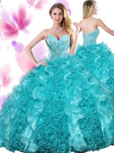 Captivating Sweetheart Sleeveless Organza Sweet 16 Dresses Beading and Ruffles Lace Up
