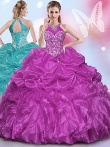 Classical Halter Top Sleeveless Floor Length Appliques and Pick Ups Lace Up 15 Quinceanera Dress with Fuchsia