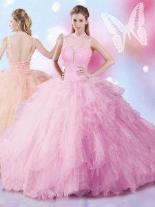 Rose Pink 15th Birthday Dress Military Ball and Sweet 16 and Quinceanera and For with Beading and Ruffles Sleeveless Lace Up