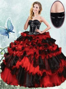 Suitable Red And Black Quinceanera Gowns Military Ball and Sweet 16 and Quinceanera and For with Beading and Ruffled Layers Sweetheart Sleeveless Lace Up