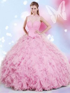 Colorful Halter Top Sleeveless Lace Up Floor Length Beading and Ruffles 15 Quinceanera Dress