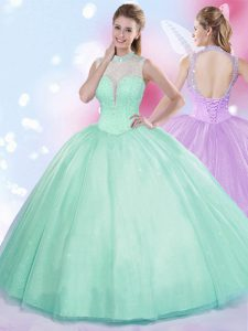 Popular High-neck Sleeveless Lace Up Ball Gown Prom Dress Apple Green Tulle