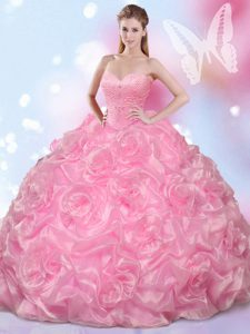 Rose Pink Sweetheart Neckline Beading Sweet 16 Quinceanera Dress Sleeveless Lace Up