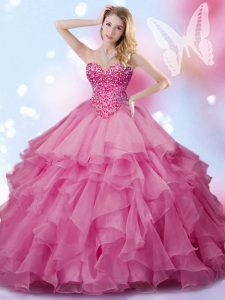 Comfortable Floor Length Rose Pink 15th Birthday Dress Sweetheart Sleeveless Lace Up