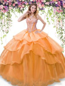 Spectacular Orange Lace Up Sweetheart Beading and Ruffled Layers Quinceanera Dress Organza Sleeveless