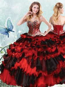 Sequins Ruffled Sweetheart Sleeveless Lace Up Quinceanera Gown Red And Black Organza