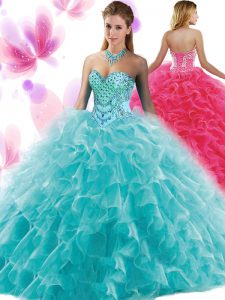 Extravagant Organza Sleeveless Floor Length Quinceanera Gowns and Beading and Ruffles
