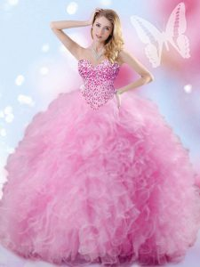 Glamorous Sleeveless Floor Length Beading and Ruffles Lace Up Sweet 16 Quinceanera Dress with Rose Pink