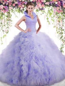 Elegant Lavender Ball Gowns High-neck Sleeveless Tulle Floor Length Backless Beading and Ruffles Sweet 16 Dress