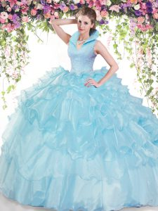 Top Selling Baby Blue High-neck Backless Beading and Ruffled Layers 15 Quinceanera Dress Sleeveless