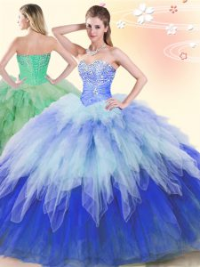 Discount Multi-color Ball Gowns Sweetheart Sleeveless Tulle Floor Length Lace Up Beading and Ruffles Sweet 16 Dress