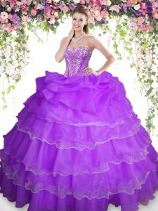 Sexy Pick Ups Ruffled Floor Length Ball Gowns Sleeveless Purple 15 Quinceanera Dress Lace Up