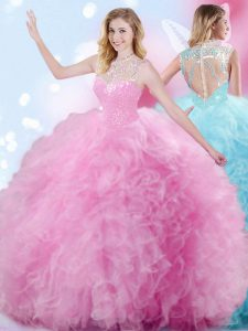 Best Selling Rose Pink Ball Gowns High-neck Sleeveless Tulle Floor Length Zipper Beading and Ruffles and Pick Ups Vestidos de Quinceanera