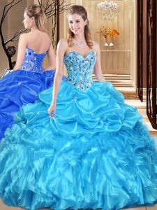 Glittering Ball Gowns Quinceanera Gown Aqua Blue Sweetheart Organza Sleeveless Floor Length Lace Up