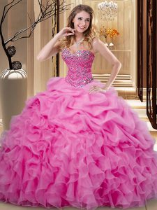On Sale Rose Pink Ball Gowns Sweetheart Sleeveless Organza Floor Length Lace Up Beading and Ruffles and Pick Ups Ball Gown Prom Dress