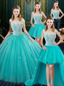 Four Piece High-neck Sleeveless Quince Ball Gowns Floor Length Lace Aqua Blue Tulle