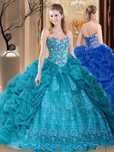 Fine Sweetheart Sleeveless Organza Sweet 16 Quinceanera Dress Embroidery and Pick Ups Lace Up