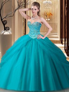 Colorful Sweetheart Sleeveless Quinceanera Dress Floor Length Beading Teal Tulle