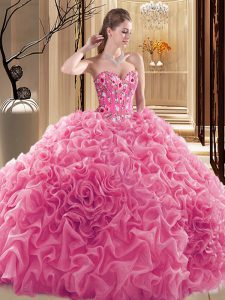 Lovely Rose Pink Ball Gowns Embroidery and Ruffles and Pick Ups Quinceanera Gowns Lace Up Fabric With Rolling Flowers Sleeveless Floor Length