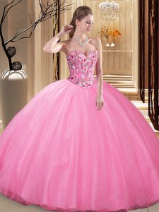 Floor Length Ball Gowns Sleeveless Rose Pink 15 Quinceanera Dress Lace Up