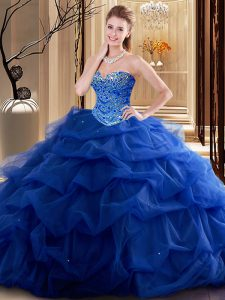 Royal Blue Ball Gowns Beading Ball Gown Prom Dress Lace Up Tulle Sleeveless Floor Length