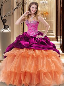 Multi-color Ball Gowns Beading and Ruffles Quince Ball Gowns Lace Up Organza and Taffeta Sleeveless Floor Length
