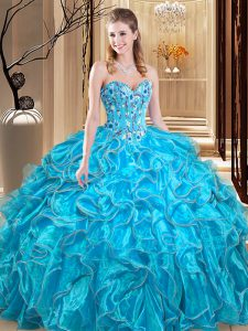 Cheap Sleeveless Floor Length Embroidery and Ruffles Lace Up 15 Quinceanera Dress with Teal