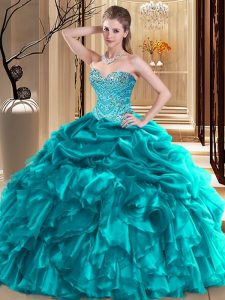 Popular Sweetheart Sleeveless Organza 15 Quinceanera Dress Beading and Pick Ups Lace Up