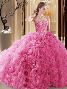 Decent Sweetheart Sleeveless Fabric With Rolling Flowers Quinceanera Gowns Embroidery and Ruffles and Pick Ups Lace Up