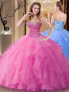 Discount Rose Pink Sleeveless Beading Floor Length Quince Ball Gowns