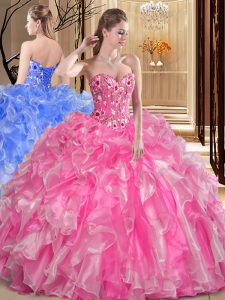 Low Price Rose Pink Ball Gown Prom Dress Military Ball and Sweet 16 and Quinceanera and For with Embroidery and Ruffles Sweetheart Sleeveless Lace Up