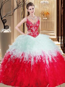 Organza Straps Sleeveless Lace Up Appliques and Ruffles Sweet 16 Quinceanera Dress in White And Red