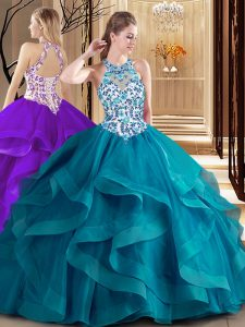 Scoop Sleeveless Brush Train Lace Up Vestidos de Quinceanera Teal Tulle