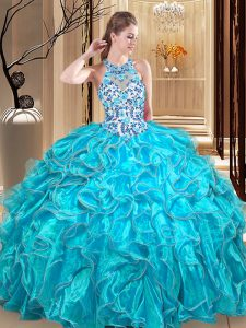 Dynamic Teal Ball Gowns Scoop Sleeveless Organza Floor Length Backless Embroidery and Ruffles Ball Gown Prom Dress