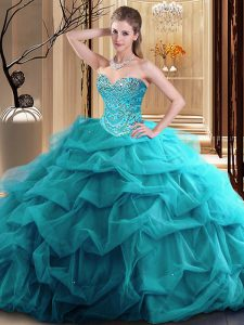 Graceful Teal Ball Gowns Beading and Ruffles Sweet 16 Dress Zipper Tulle Sleeveless Floor Length
