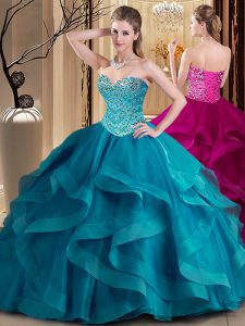 Teal Lace Up 15th Birthday Dress Beading and Ruffles Sleeveless Floor Length
