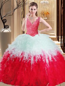 V-neck Sleeveless Zipper Ball Gown Prom Dress White And Red Tulle