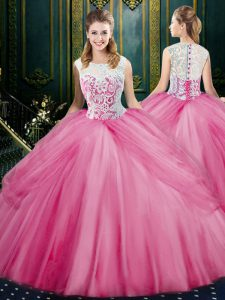 Lovely Scoop Rose Pink Zipper Quinceanera Gown Lace and Pick Ups Sleeveless Floor Length